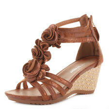 WOMENS LOW WEDGE HEEL STRAPPY T BAR FLOWER DETAIL LADIES SANDALS SHOES SIZE