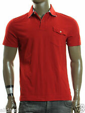 NEW MENS TOMMY HILFIGER FLAG LOGO SHORT SLEEVE RED JERSEY POLO SHIRT