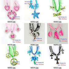 k003m13 Silver Plated Animal Gems Rhinestones Pendant Silk Necklace Earrings Set