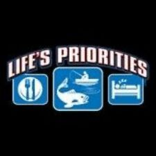 NEW FUNNY FISHING T-SHIRT - Life's Priorities Eat, Fish, Sleep!