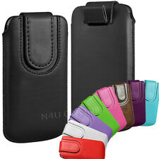 Pull Tab Flip Case Cover Pouch For Nokia Phones Premium PU Leather With Strap