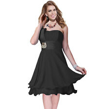 One Shoulder 2 Layer Chiffon Formal Cocktail Prom Party Dress Black