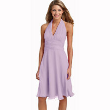 New Halter Neck Chiffon Formal Cocktail Bridesmaid Evening Party Dress Lilac