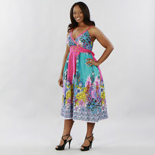 Fashionista Glamorous Blue/Pink Party Cruise Boutique Sun Dress Plus Size, Magic