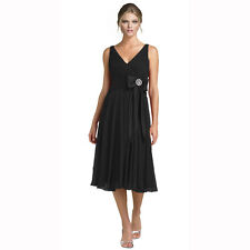 Stunning Rhinestone Chiffon Cocktail Party Bridesmaid Dress Evening Wear Black
