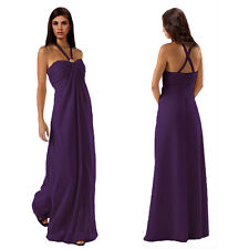 Gorgeous Long Flowing Formal Bridesmaid Dress Evening Party Night Gown Purple