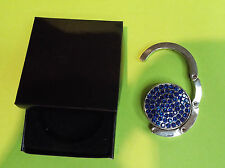 Purse Hanger / Hook Silver Tone Blue Crystals - Hang Your Hand Bag From a Table