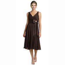 Stunning Rhinestone Chiffon Cocktail Party Bridesmaid Dress Evening Wear Choc