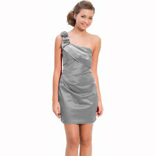 Draped Satin One Shoulder Formal Cocktail Evening Dress Prom Party Wear Silver