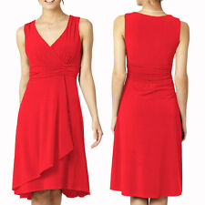 Elegant Mid Length V-Neck Sleeveless Jersey Cocktail Party Day Dress Coral Red