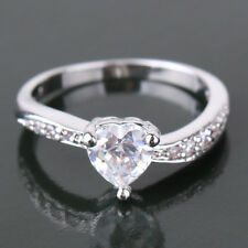 Sweet heart sapphire crystal 18k white gold filled amazing lady ring Sz5-Sz9