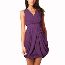 Sleeveless V Neck Draped Chiffon Cocktail Party Day Dress Club Wear Purple