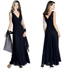 Pleated Flowing Formal Evening Gown Bridesmaid Dress with shawl Dark Navy