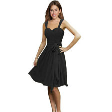 Sweetheart Pleated Chiffon Cocktail Evening Party Bridesmaid Dress Black