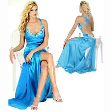 Hot & Sexy Satin Beaded Formal Evening Party Prom Dress Night Ball Gown Blue