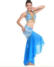 2014Costumes Sequins Womens  Bra and Belt Belly Dance Costume Suit Mermaid New F
