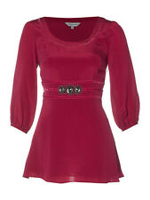 Dickins & Jones House Of Fraser Rosa Rojo Seda Blusa Túnica Vestido Corto