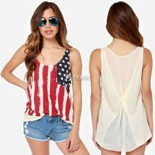 NEW AMERICAN FLAG TANK TOP MUSCLE US EXPRESS CASUAL LUCKY SLEEVELESS TEE  TOP