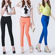 New Women Career OL Casual Skinny Slim Belted Pencil Candy Color Pants Trousers