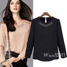 Elegant Women Casual Long Sleeve Rhinestone Workwear Chiffon T-Shirt Top Blouse
