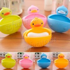 Novelty Duck Bathroom Shower Bath Soap Holder Wall Suction Hanger Box Dispenser