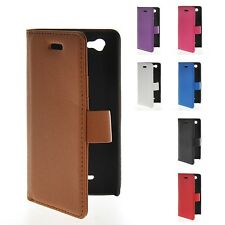 Litchi Skin Flip Wallet Card Leather Case Cover For Sony Xperia M C1904 C1905