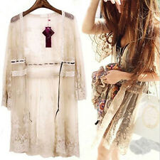 Oversized Ladies Sheer Lace Flower Long Cardigan Blouse Top Sun Protection Beach