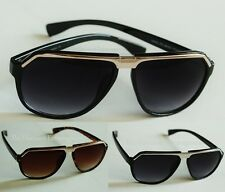 Front Metal Band Aviator Evidence Inspired Medium Sunglasses _ Black or Brown