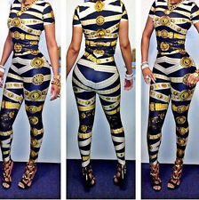 Hot Style Fabric Print 2-pieces Womens Clubwear Jumpsuit Rompers Bodysuit Outfit