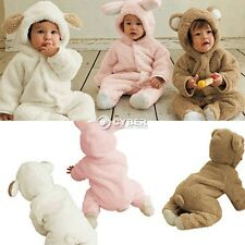 Warm Cute Baby Girl Boy Romper Coat Clothes Animal Fleece Jacket Outwear 0-24M