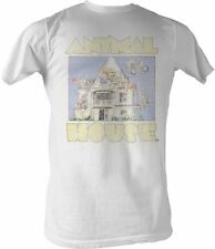 Adult White Comedy Romance Movie Animal House Distressed Cartoon T-shirt Tee