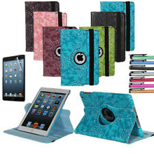 360°Rotating Stand Embossed Flower Smart Leather Case Cover For Apple iPad Mini