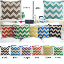 Chevron Zig Zag Vintage Linen Cotton Cushion Cover Home Decor PillowCase 45,65cm