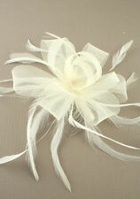 FEATHER CREAM LOOPED COILED NET FASCINATOR WITH HEAD COMB RACES BRIDAL WEDDING