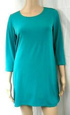 NEW SUSAN GRAVER Essentials LIQUID KNIT Scoop Neck Tunic Top 3/4 Slv COLORS
