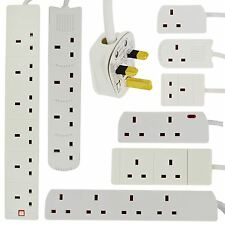 2 4 6 GANG WAY UK PLUG EXTENSION LEAD CABLE SOCKET CE MARKED MAINS