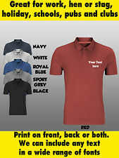 Mens or Womens Personalised Custom PRINTED POLO SHIRT For Work Uniform Workwear