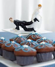 Bride Dragging Groom Funny Wedding Cake Topper WITH Custom Hair Colors