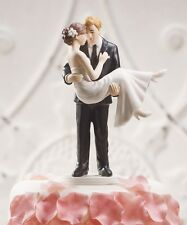 Swept Up In His Arms Romantic Wedding Cake Topper WITH Custom Hair Colors