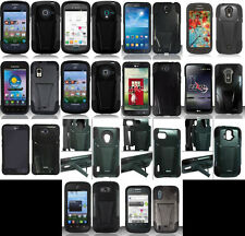 LOTS OF Phone Cover HYBRID T-STAND skinBLACK/BLACK Case FOR (ALL MODELS)