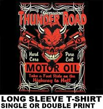 THUNDER ROAD HIGHWAY TO HELL MOTOR OIL PURE EVIL DEVIL SKULL PISTONS T-SHIRT 543