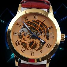 Mens Leather Classic Transparent Steampunk Automatic Mechanical Man Watch