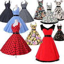 Fashion 50s 60s Vintage Retro Party Polka Dot Pinup Petite Evening Attire Dress