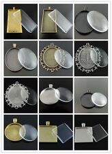 Bronze Sillver Alloy Round Oval Rectangle Bezel With Glass Raised Pendant 1 Set
