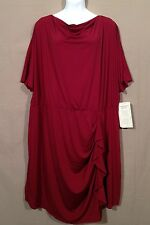 WOMAN WITHIN knit waterfall neckline ruffle DRESS 3X 4X 6X WINE w5
