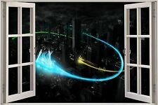 Huge 3D Window Fantasy Sky Boarding HD View Wall Stickers Decal Wallpaper Mural