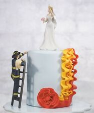 To The Rescue! Fireman and Bride Wedding Cake Topper WITH Custom Hair Color