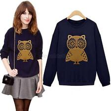 Chic Women Long Sleeve Owl Print Sweatshirt Top Blouse Pullover Thicken Shirt