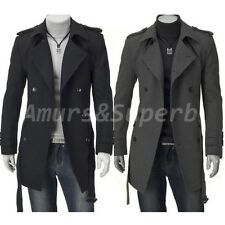 NEW Men's Comfty Slim Fit Long Jackets Winter Coats Double Breasted Trench Coat