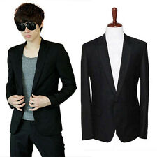 Men's Slim Fit Stylish Casual One Button Suit Coat Jacket Business Blazer BLACK
